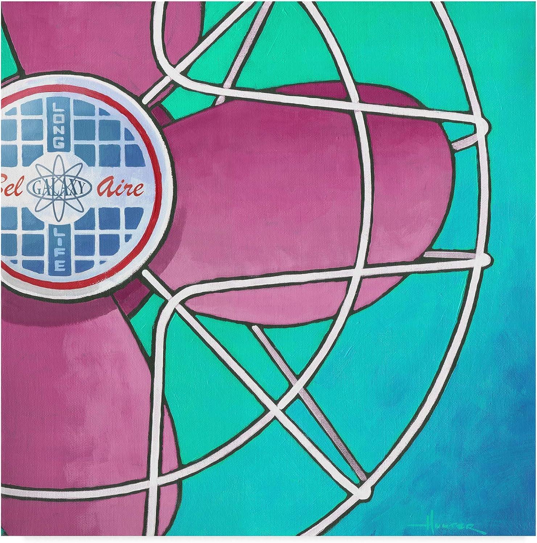 Trademark Fine Art ALI41876-C1414GG Bel Aire Fan Pink on Turquoise by Larry Hunter Art, 14x14