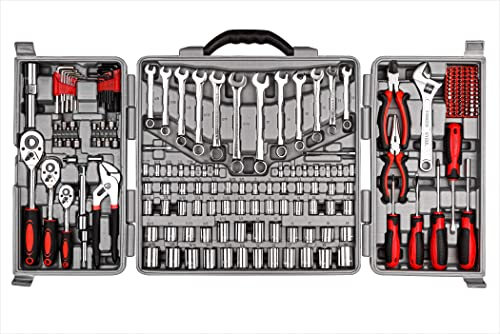 2021 Cartman Tool online Set 205Pcs Red Ratchet Wrench with Sockets Kit Set in discount Plastic Toolbox sale