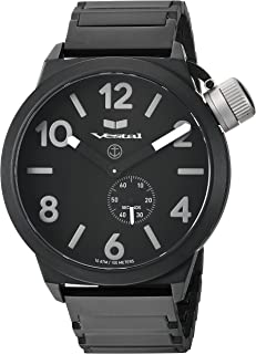 Vestal 'Canteen Metal' Quartz Stainless Steel Casual Watch, Color:Black (Model: CNT453M06.1BKM)