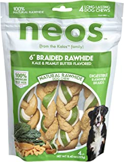 Neos 6'' Braided Rawhide, Kale & Peanut Butter Flavored, 4 snacks per Bag. …