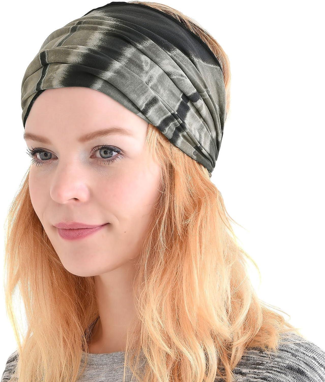CHARM Womens Bandana Headband Headwrap - Mens Hippy Hair Band Japanese Boho Dread Wrap