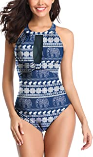 f33d5904da2 Eomenie Womens One Piece Swimsuits Tummy Control Swimwear Flattering High  Waisted Monokini Mesh Plus Size Bathing