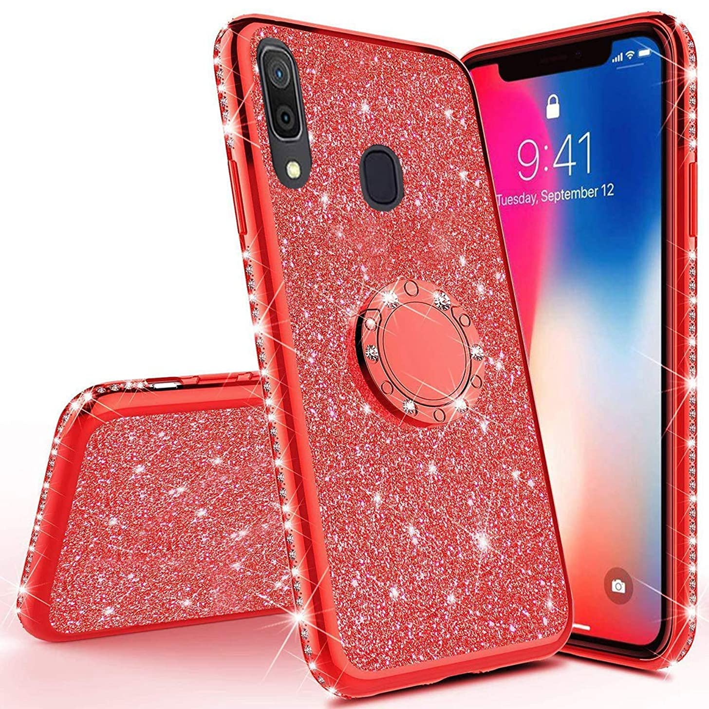 Herbests Compatible with Samsung Galaxy A30 Glitter Case Sparkly Bling Rhinestone Diamond Soft TPU Crystal Clear Flexible Protective Cover with Finger Ring Grip Holder Stand,Red