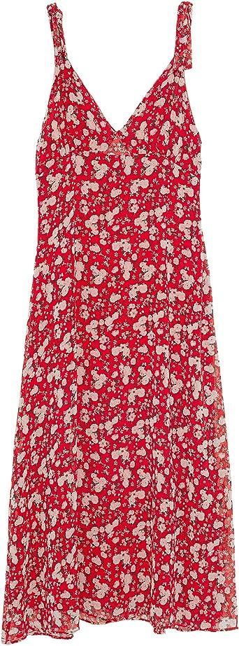 Zara - Vestido de Mujer con Estampado de Flores Rojo S ...