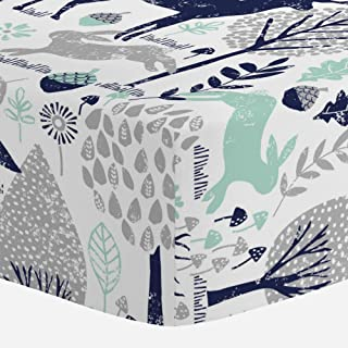 Carousel Designs Navy and Mint Woodland Animals Crib Sheet - Organic 100% Cotton Fitted Crib Sheet - Made in The USA
