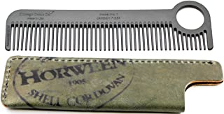 Chicago Comb Model 1 Carbon Fiber Comb + Olive Shell Cordovan Horween leather sheath, Made in USA, ultimate pocket & travel comb, ultra smooth strong & light, anti-static, premium American leather