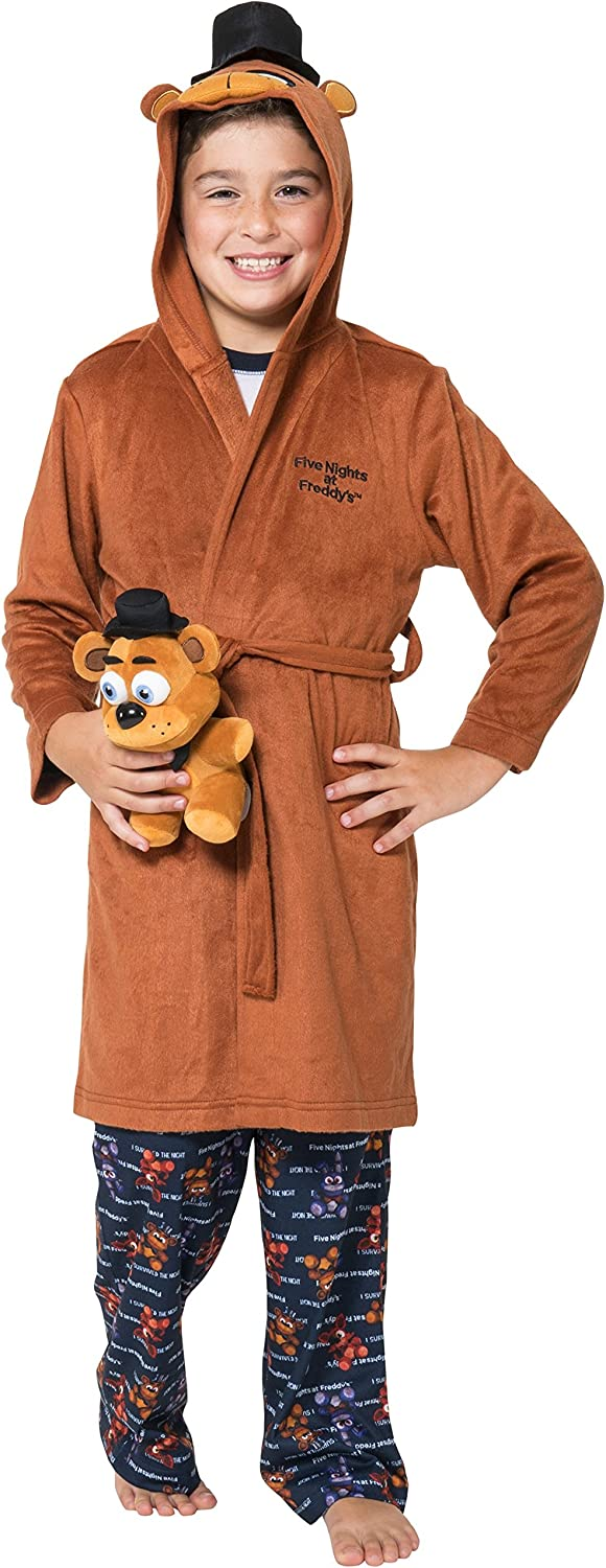 INTIMO Unisex-Child Five Nights at Freddy Hooded Robe Bathrobe