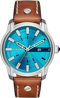 Diesel Men's Armbar Stainless Steel Analog-Quartz Watch with Leather Calfskin Strap, Brown, 25 (Model: DZ1815)
