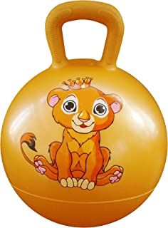 AppleRound Space Hopper Ball with Air Pump: 15in/38cm Diameter for Ages 3-5, Hop Ball, Kangaroo Bouncer, Hoppity Hop, Jumping Ball, Sit & Bounce (Lion Cub Yellow)