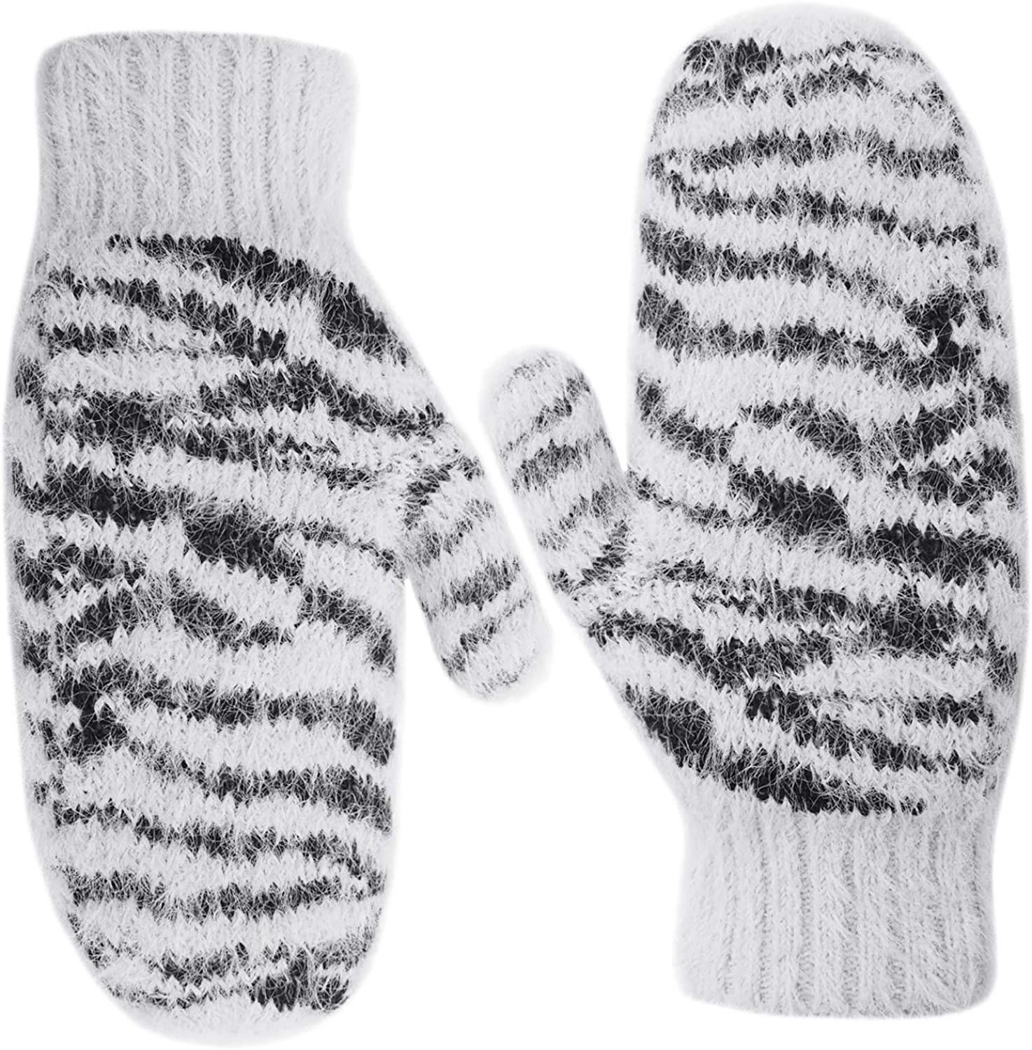 Zenssia Women's Soft and Warm Knitted Plush Fleece Winter Mittens with Unique Zebra-Striped Pattern