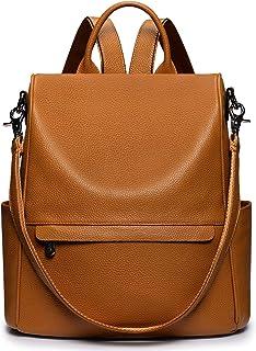 S-ZONE Damen Anti-Diebstahl Rucksack Echtleder Diebstahlschutz 2 in 1 Handtasche als Lederrucksack Tragbare Modische Schultertasche Geldbeutel Reiserucksack Daypack