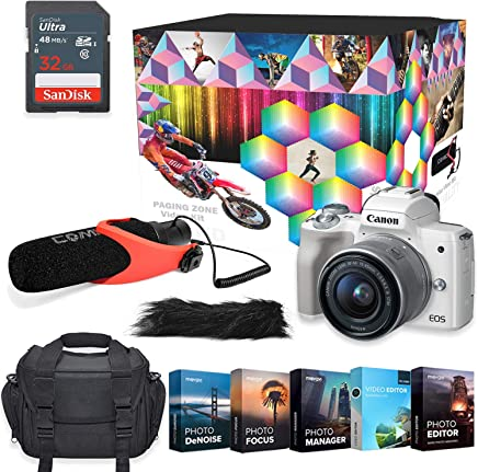 $649 Get Canon EOS M50 Mirrorless Digital Camera Professional Photo & Video Editing Software Vlogging Kit with 15-45mm Lens (White)