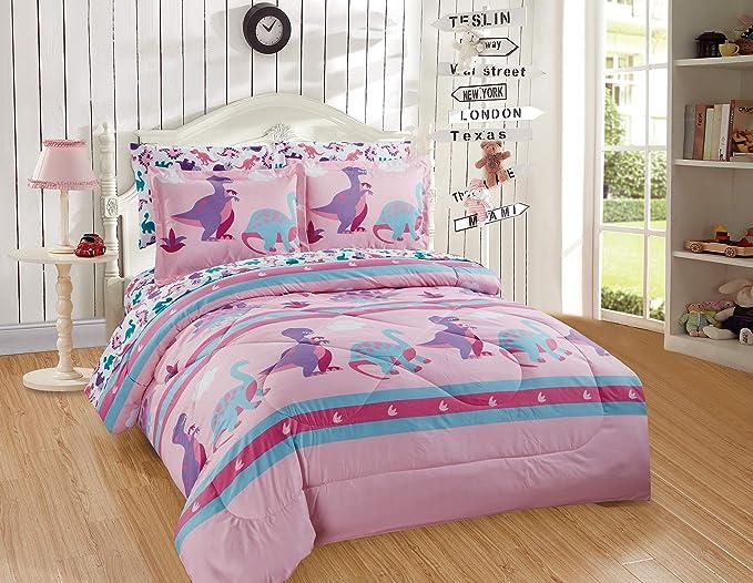 Fancy Collection Teen//Girls Full Size Sheet Set Dinosaur Pink Purple Turquoise Lime Green # Dinosaur Pink