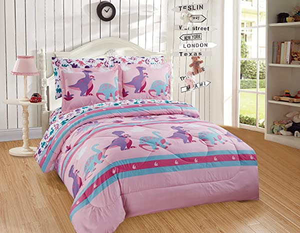 Better Home Style Multicolor Pink Blue Purple Dinosaurs Printed Fun Design 5 Piece Comforter Bedding Set For Girls Kids Bed In A Bag With Sheet Set Dinosaur Land Pink Twin