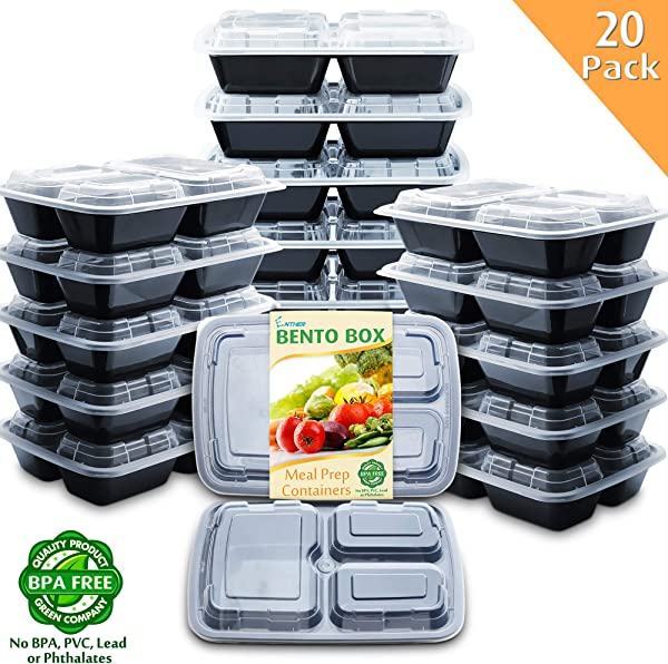 Enther Meal Prep Containers With Lids 20 Pack 3 Compartment Food Storage Bento Lunch Box BPA Free Reusable Microwave Dishwasher Freezer Safe Portion Control 24oz Black Small