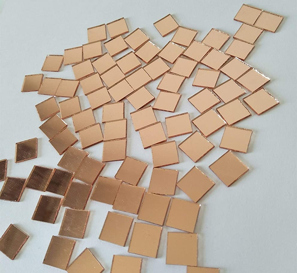 200PCS Square Mirror Mosaic,Glass Mirror Mosaic Tiles,Crafts Glass Mirror Tiles, Real Square Glass Mirror Table Scatter (Light Rose Gold, 1/25 in)