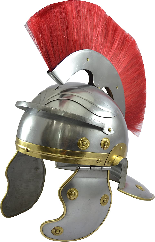 suministro de productos de calidad Centurión romano casco con rojo réplica pluma en en en la parte súperior del casco Romano  presentando toda la última moda de la calle
