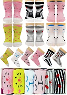 Tiny Captain Baby Girls Socks Anti Slip Cat Grip Sock Gift for 6m-24m Babies Year Old Girl, Non Skid Best Toddler Gift Age 6-24 Months (Pink)