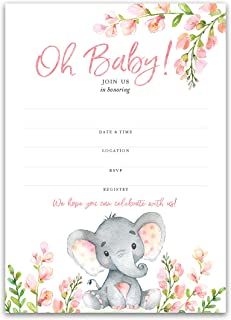 PINK ELEPHANT Baby Shower INVITATIONS — Pack of 25 — BABY GIRL Blank Fill-in INVITES — Oh Baby, Pink Polka Dot PINK BABY ELEPHANT GIRL Baby Shower INVITES, Little Peanut Invitation, PINK SKU I530-INV1