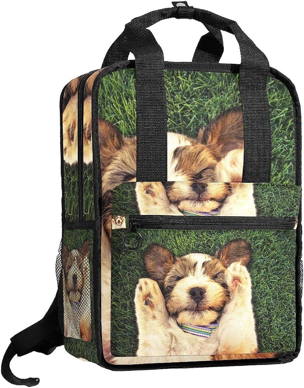 ATOMO Mochila de viaje para la escuela de trabajo, para mujeres y hombres, estudiantes universitarios, perro descansado tumbado el pastizal