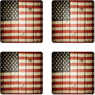 Ambesonne American Flag Coaster Set of 4, Usa Flag over Vertical Striped Wooden Board Citizen Solidarity Artwork, Square Hardboard Gloss Coasters, Standard Size, Coral Cream