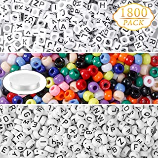 1800pcs White Acrylic Alphabet Cube Beads Round Letter Beads Multi Color Large Hole Beads with 1 Roll Crystal String Cord for Jewelry Making