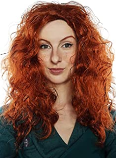 Red Curly Wig Long Hair Wigs Fits Women Kids Brave Princess Mermaid Costume Anime Cosplay Wigs
