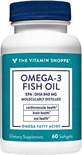 The Vitamin Shoppe Omega 3 Fish Oil 1100mg, EPA 600mg DHA 240mg, Purity Assured, Molecularly Distilled to Support Cardiova...