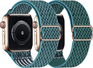 UHKZ 2 Pack Stretchy Solo Loop Compatible with Apple Watch Bands 38mm 40mm 42mm 44mm,Adjustable Braided Sport Elastic Nylon Wristband for iWatch Series 6/SE/5/4/3/2/1,Celestial Teal/Pine Green,42/44mm