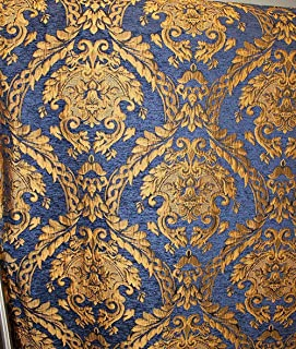 Damask Tapestry Chenille Fabric - Upholstery Fabric, Blue/Gold - 60