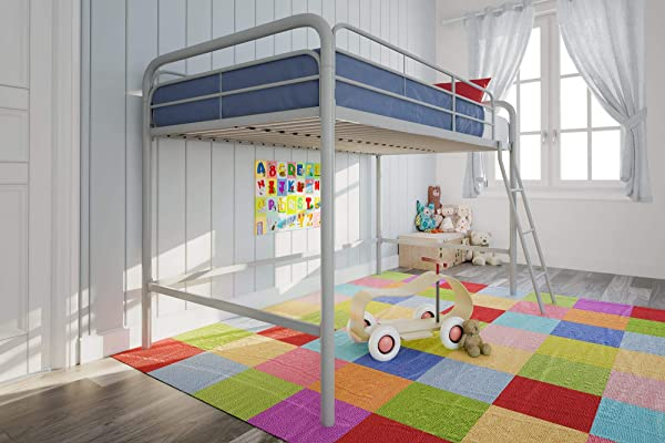 DHP Junior Loft Bed Frame With Ladder Silver