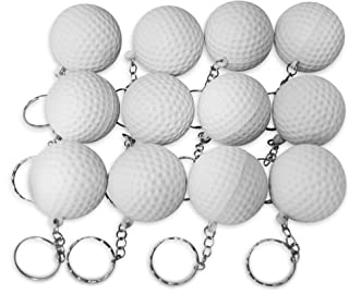 Novel Merk 12 Pack Golf Ball White Keychains for Kids Party Favors & School Carnival Prizes