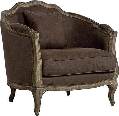 Zentique Maison Love Chair in Limed Grey Oak/Aubergine Linen