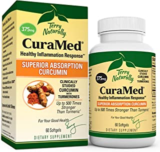 Terry Naturally CuraMed 375 mg - 60 Softgels - Superior Absorption BCM-95 Curcumin Supplement, Promotes Healthy Inflammati...