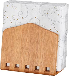 Home Intuition Bamboo Adjustable Napkin Holder for more Larger Napkins