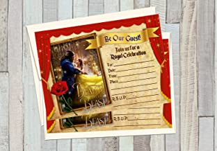 Personalised Belle Beauty and the Beast Birthday Party Invites inc envelopes V5