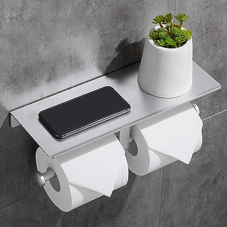 TRUSTLIFE Portarotolo da Cucina Senza Foratura in Alluminio con Ampio Ripiano Porta Rotolo da Parete Supporto di Carta di Cucina con Colla per Cucina e Bagno