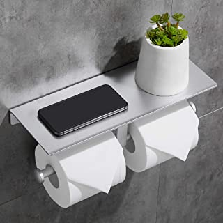 Gricol Support de Papier Hygiénique Support de Papier Toilette autocollant Avec Support de Téléphone en Aluminium pour Cui...