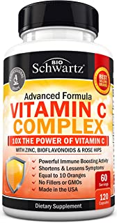 Vitamin C 1000mg Capsules with Zinc, Rose Hips & Bioflavonoids - Immune Support Supplement with 10x The Pow...