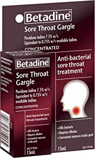 Betadine Sore Throat Gargle Concentrated - Kills bacteria that may cause a sore throat, 15mL
