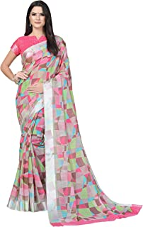 30f4e9203e0d5f Nilkanth Enterprise Women's Light Pink Satin Cotton Printed Saree With  Unstitched Blouse Piece(Light_Pink_Cotton)