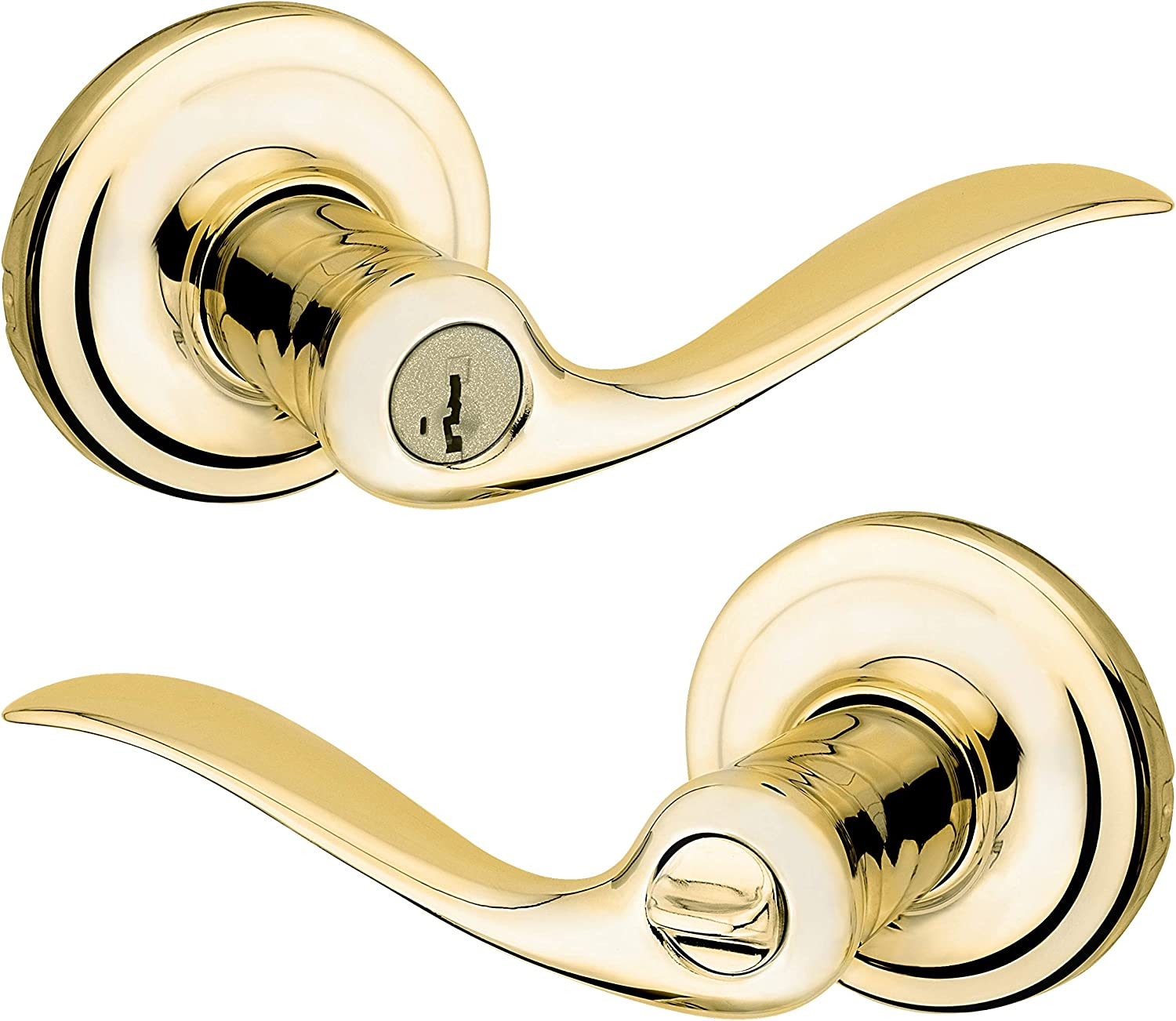 Complete Free Shipping Kwikset 97402-731 Tustin Japan Maker New Entry Polished Lever Brass