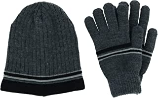 CTM Men's Striped Knit Beanie and Glove Set
