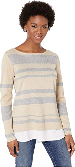 Crew Neck Striped Twofer Sweater