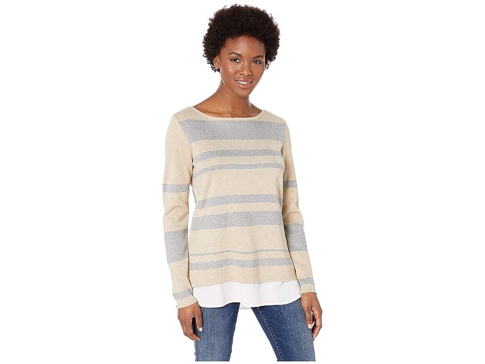 Calvin Klein Crew Neck Striped Twofer Sweater (Neutral Stripe) Women