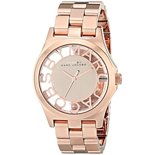 Marc by Marc Jacobs Womens MBM3207 Skeleton Rose Gold-Tone Stainless Steel Watch with Link