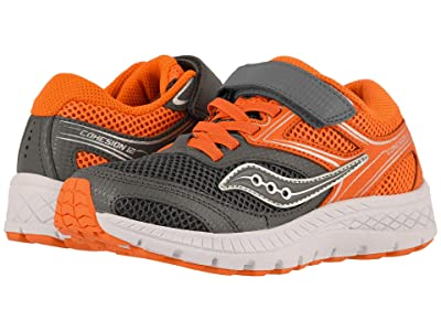 Saucony Kids Cohesion 12 A/C (Little Kid/Big Kid) (Grey/Orange) Boys Shoes