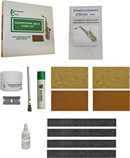 Instrument Clinic Saxophone Neck Cork Replacement Kit, with 2 Pieces of Composite Neck Cork and 2 Pieces of Natural Neck Cork, Fits All Saxophones!