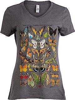 Vintage Butterfly Art   Cool Nature Illustration Butterflies V-Neck T-Shirt for Women