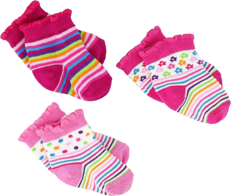 Jefferies Socks Baby-Girls Newborn Topsy Socks 3 Pair Pack Gift Box